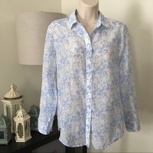 Banana Republic Dillon Shirt Blue White Silk 166